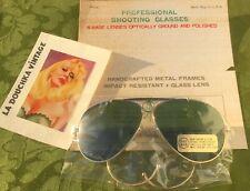 Vtg 1970s Men Pilot Flight Gold Sunglasses~Black Crossbar~Green Glass Lenses~Nwt