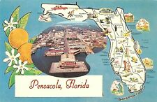 Vintage Florida Chrome Postcard Pensacola State Map From The Air Oranges