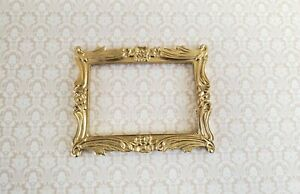 Dollhouse Miniature Picture Frame for 1:6 Scale Settings Large Fancy Gold LP11