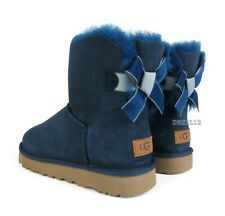 UGG Mini Bailey Bow II Shimmer Navy Blue Suede Fur Boots Womens Size 8 ~NIB~