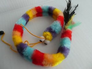 (W014) Cat Kitten Bright Multicoloured Caterpillar Teaser Wand Toy with Feather
