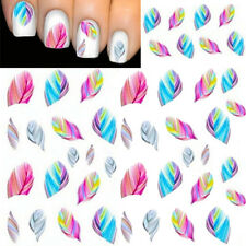 5 Sheets Colorful Feather Nail Art Water Transfer Stickers Rainbow Dream Decals