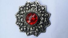 "Scottish Kilt Fly Plaid Brooch Red Stone Silver Antique Finish 4""/Thistle Brooch"