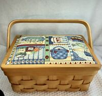 Wicker Woven Fabric Printed Sewing Basket Craft Storage Organizer, Medium Size