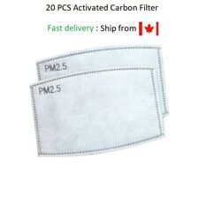 Activated Carbon filter PM2.5 Insert Replacement for Face Masks 20 pcs 5 Layers