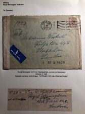 1945 Royal Norwegian Air-force Barrow England Cover To Stockholm Sweden