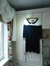 BLACK AND CREAM KEYHOLE JERSEY DRESS PETER-PAN COLLAR- SLIPS ON OVER THE HEAD