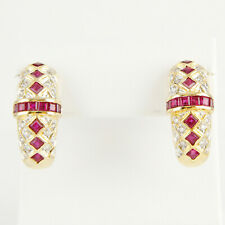 Earrings (18k gold) with rubies and diamonds