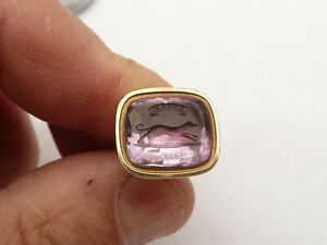ANTIQUE RARE 15CT GOLD AMETHYST GREYHOUND INTAGLIO SEAL PENDANT FOB 8.1 GRAMS