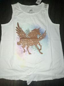 Girls justice glitter front tie Unicorn tank size 14/16 new