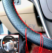 Black + Red Thread Leather DIY Car Steering Wheel Cover Hand Sewing Soft Grip