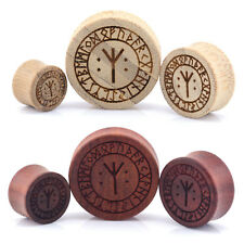 Nordic Rune Symbols Wood Ear Plugs - Laser Engraved Double Flared Bamboo & Rose