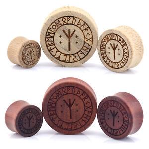 Nordic Rune Symbols Wood Ear Plug - Laser Engraved Double Flared Bamboo or Rose