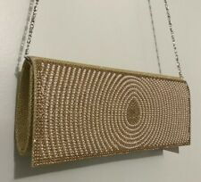 Gold Elegant Wedding Rhinestone Stones Beaded Evening Clutch Bag Handbag NWT $59