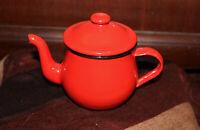 Vintage Red Enamelware Mini Teapot Perfect Retro White Black Japan 4.5 Inch OMC