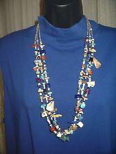 Vintage 3 strand ZUNI Fetish necklace turquois coral natural stones shells
