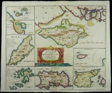 CHANNEL ISLANDS ISLE OF MAN WIGHT JERSEY BIG ENGRAVED MAP ROBERT MORDEN 1695