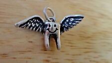 Sterling Silver 3D 14x23mm Flying Tooth Fairy or Baby Tooth Charm