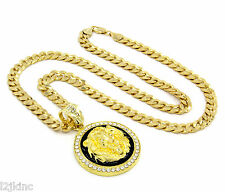 "Mens Gold Plated with Black Lion Face Iced Out Pendant 30"" Necklace Cuban Chain"