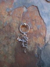 """Silver Winged Dragon Cartilage Piercing Captive Ring Tragus 14 Gauge 1/2""""-Wicca"""