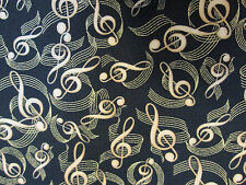 PRELUDE MUSIC NOTES GOLD BLACK BACKGROUND COTTON FABRIC FQ OOP