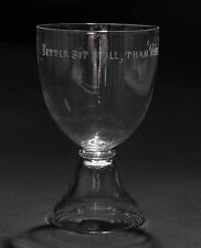 Antique Double Ended Rummer Drinking Glass Etched with a Scottish Proverb