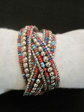 Multicolored Beaded Cuff Bracelet ~ Boho Chic