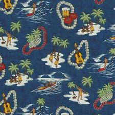 Robert Kaufman / Sevenberry ISLAND PARADISE Hula Girl Palm tree Fabric - Ocean