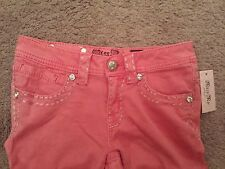 Miss Me Girls Jeans Sz 10 14 Cuff Capri Coral Peach Denim Jewel Crystal New