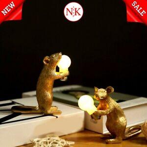 NEW Resin Animal Rat Mouse Table Lamp Small Mini Mouse Cute LED Home Decor Light