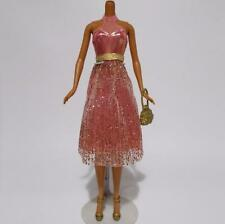 Barbie Fashion Fever Dress Pink Gold Glitter With Purse Shoes