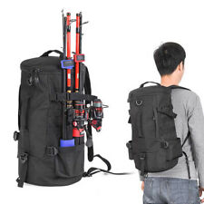 Cylindrical Fishing Tackle Backpack Large Capacity Bags with Rod Holder Gear Bag