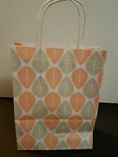 10 Peach and grey leaf kraft paper bag with twisted handles party bag, gift bag