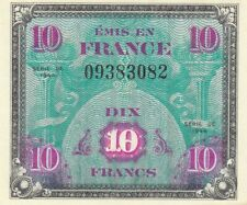 France banknote allied military currency 10 francs (1944) Ww2 P-116 Unc-