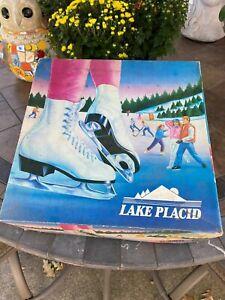 VINTAGE Lake Placid White Leather Size 9 Model 686 Womens Figure Ice Skates NIB