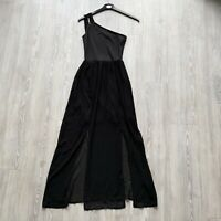 Women's Miss Selfridge One Shoulder Black Maxi Dress Floaty Slits - Size UK 8