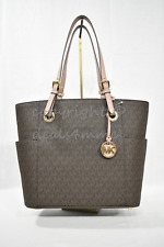 NWT Michael Kors Jet Set East West Signature Travel Large Tote in Brown Fawn