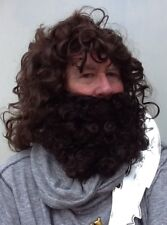 PIRATE STYLE BROWN WAVY FANCY DRESS WIG  & THICK CURLY BROWN BEARD QUALITY UK