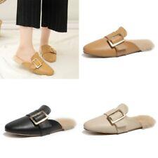 Women Faux Fur Mules Sandals Square Toe Flats Buckle Casual Shoes Size 4.5-8