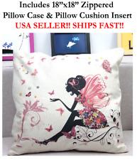 "18"" 18x18 Beautiful Black Girl Tinkerbell Love Horse Zipper Throw Pillow Cushion"