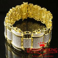 "MEN'S 1.5 CARAT 100% REAL GENUINE DIAMOND 14K YELLOW GOLD FINISH BRACELET 9"" NEW"