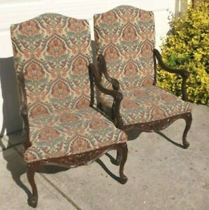 Pair Harden High Back Tapestry Upholstered Arm Chairs