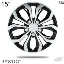 """NEW 15"""" ABS SILVER RIM LUG STEEL WHEEL HUBCAPS COVER 553 FOR MAZDA"""