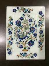 """8""""x6"""" White Marble Serving Tray Plate Mosaic Peacock Inlay Kitchen Decor H2394"""
