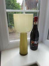 Large Vintage Scandinavian Style olive green cased Art Glass Vase