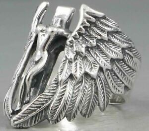 WINGED VICTORY ANGEL CROSS FEATHER 925 STERLING SOLID SILVER MENS WOMENS RING