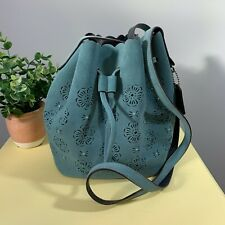 Coach Suede Mini Bucket Bag Teal Bead Detail Cut Out Tea Rose Drawstring