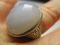 STERLING SILVER 925 ESTATE WHITE CHALCEDONY BARK ETCHED BAND RING SIZE 7