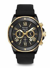 New Bulova Men's Chronograph Marine Star Black Silicone Strap Watch 44mm 98B278