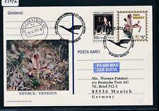 79047) LH FF Antalya Turquía-munich 2.4.2011, postal stat. card Orchid
